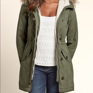 Olive Green Sherpa Parka Anorak with Fur Hood